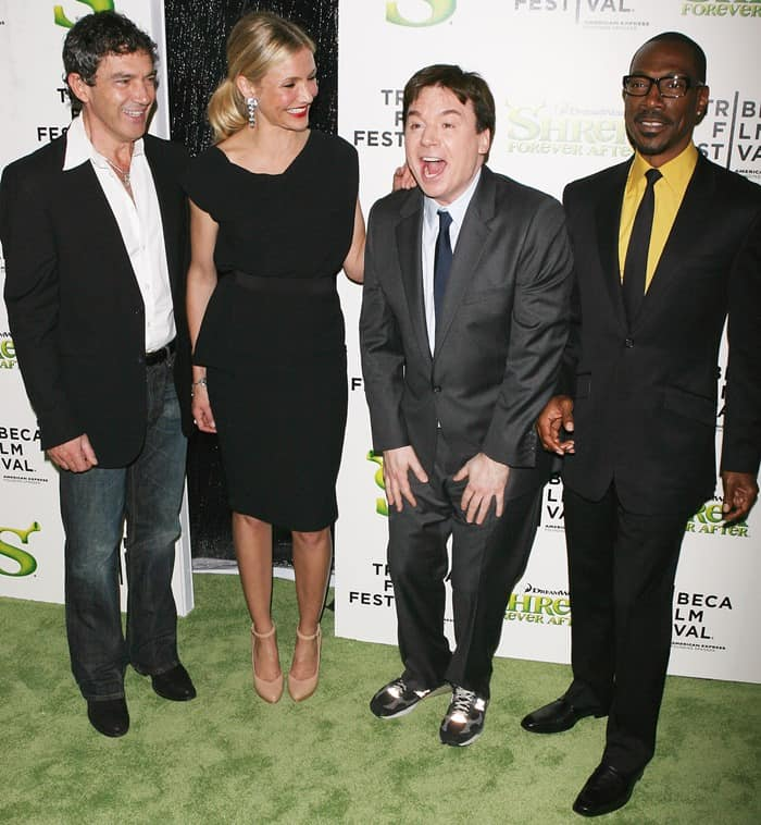 Antonio Banderas, Cameron Diaz, Mike Myers, and Eddie Murphy at the premiere of 'Shrek Forever After'