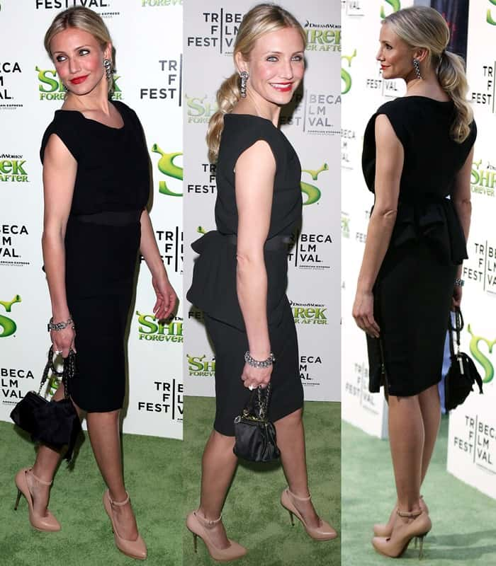 Cameron Diaz flaunted her legs in a black Lanvin dress and nude high heel shoes