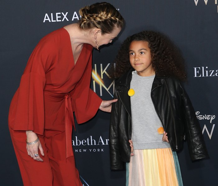 """Ellen Pompeo and her daughter Stella Ivery attend the premiere of Disney's """"A Wrinkle In Time"""""""