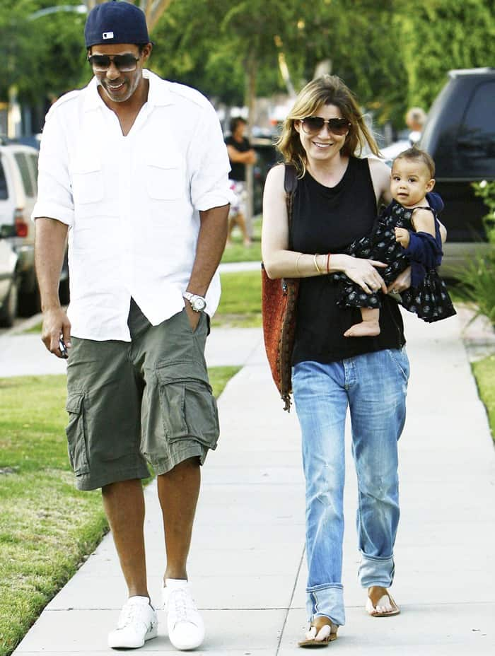 Ellen Pompeo and Chris Ivery with their daughter Stella Luna leaving a friend's home in Beverly Hills