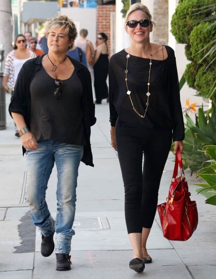 Sharon Stone goes shopping with a female companion in Beverly Hills on August 17, 2010