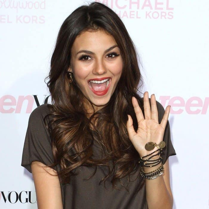 Victoria Justice arrives on the red carpet at the 2010 Teen Vogue Young Hollywood Party on October 1, 2010