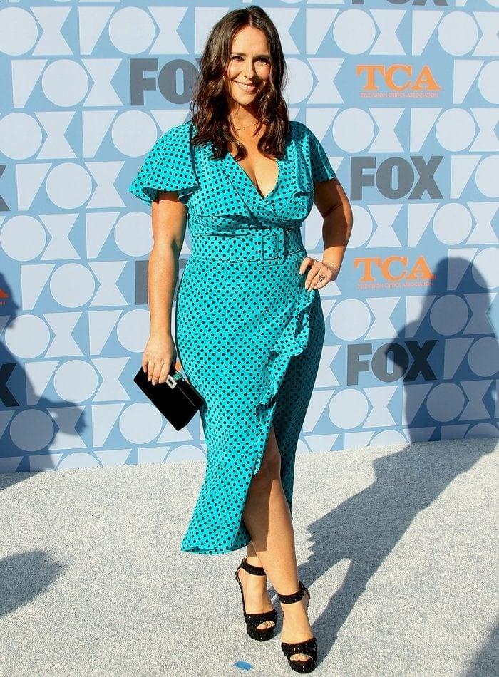 Jennifer Love Hewitt in a turquoise polka dot dress at FOX Summer TCA 2019 All-Star Party