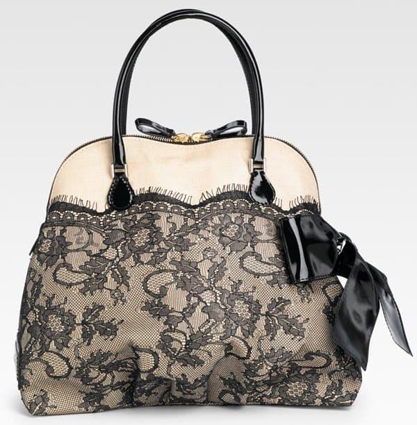 Valentino Nuage Lace & Straw Top Handle
