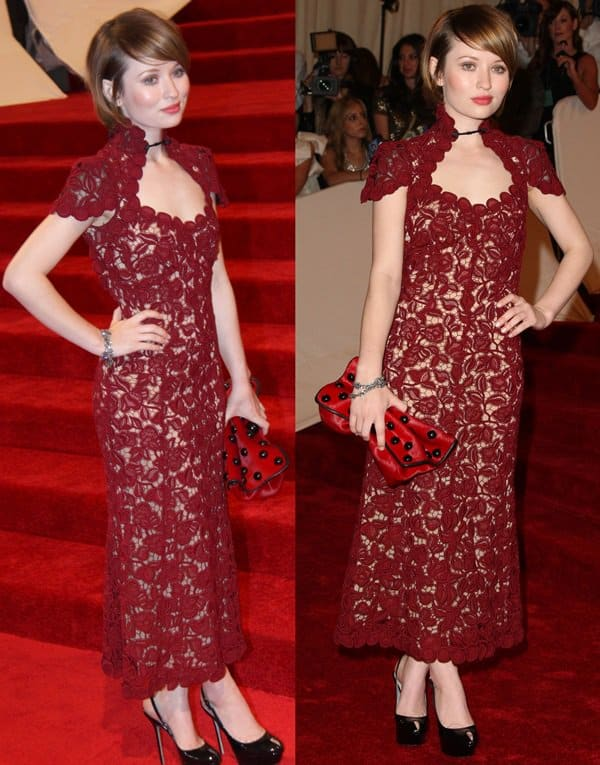 Emily Browning paired a burgundy lace dress from Marc Jacobs' Fall 2011 collection with Sergio Rossi black patent pumps
