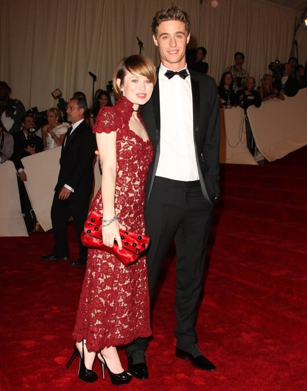 """Emily Browning and her then-boyfriend Max Irons attend the """"Alexander McQueen: Savage Beauty"""" Costume Institute Gala"""