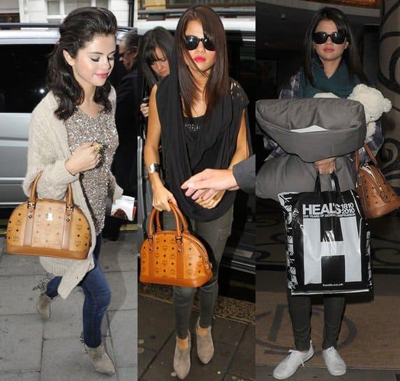 Selena Gomez toting her favorite MCM bag in London