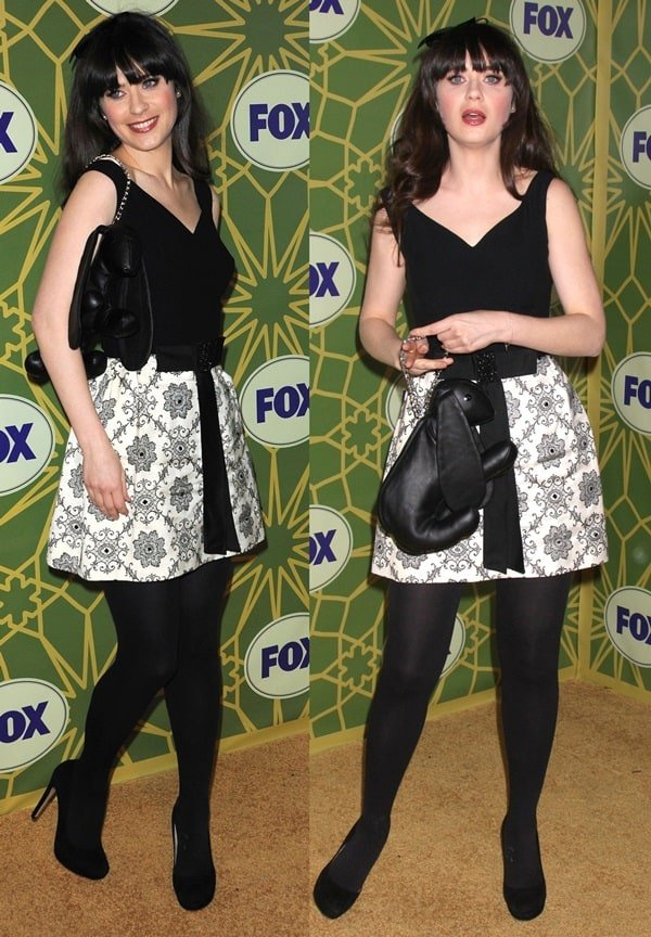 Zooey Deschanel's quirky purse isshaped like a rabbit