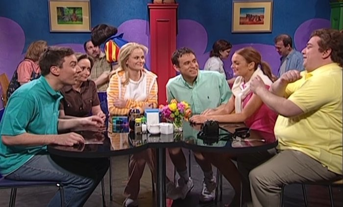 Rachel Dratch, Lindsay Lohan, Jimmy Fallon, Dratch, Amy Poehler, Fred Armisen, and Horatio Sanz in Debbie Downer's debut episode on SNL