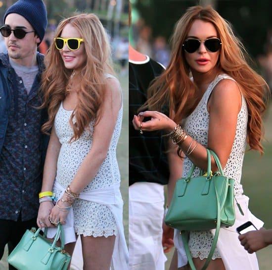 717382cf8321 Lindsay Lohan Lets Her Hair Down At Coachella Festival