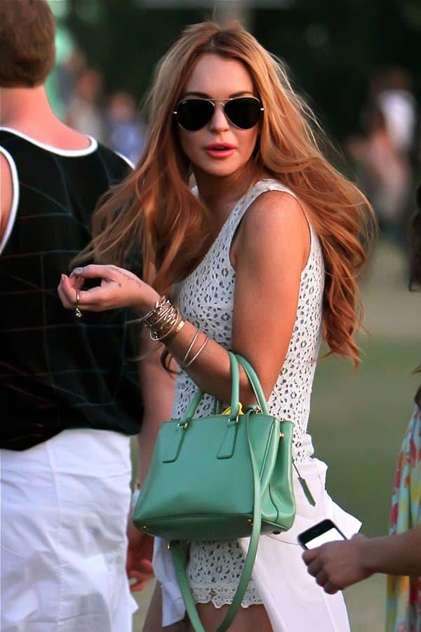 Lindsay Lohan's mint green Prada Saffiano Lux tote
