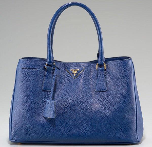 Prada Blue Saffiano Lux Top Handle Open Tote