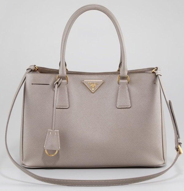Prada Gray Saffiano Lux Tote Bag Small