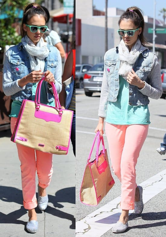 Jessica Alba wearing salmon pink pants and TOMS shoes