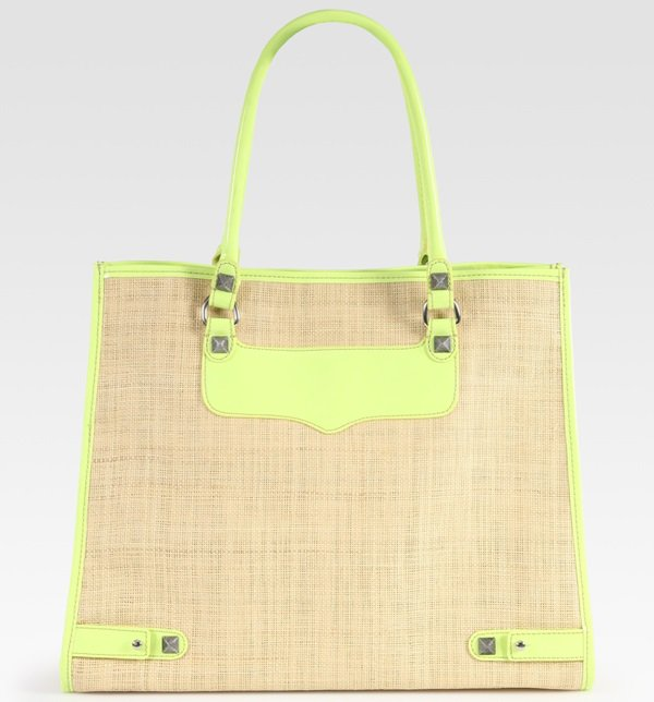Rebecca Minkoff Leather-Trimmed Straw Diamond Tote in Yellow/Natural