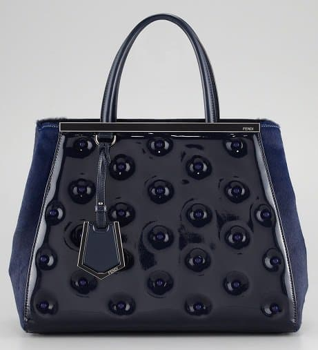 Fendi 2Jours Patent Leather Tote in Blue