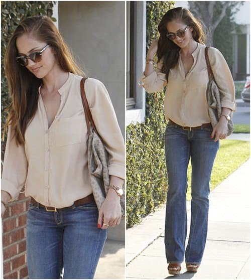 Minka Kelly heading to Byron and Tracey Salon in Beverly Hills