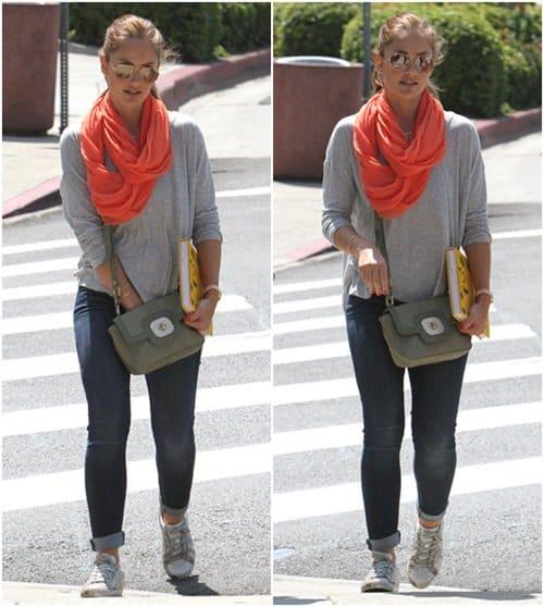 Minka Kelly wears a chic summer scarf in West Hollywood