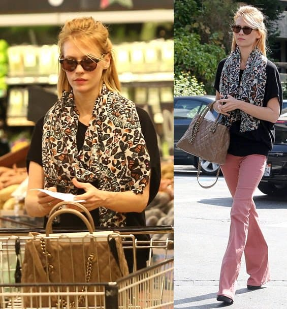 f8ad69b7a6188f January Jones Totes a Chanel Shiva While Grocery Shopping