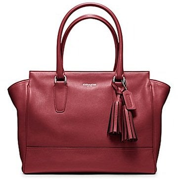 Coach Legacy Leather Medium Candace Carryall in Silver/Black Cherry