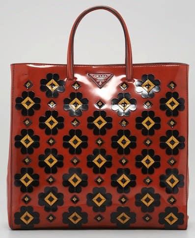 Prada Floral Applique Spazzolato Tote Bag in Orange Smoke