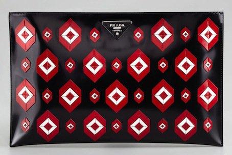 Prada Diamond Spazzolato Flat Clutch Bag in Black