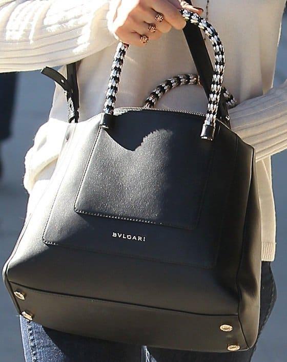 Jessica Alba's medium hand-carry Serpenti bag from Italian luxury brand Bulgari