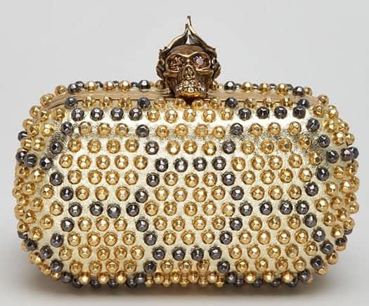 Alexander McQueen Bee Punk Skull Studded Clutch Bag