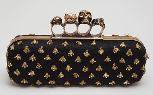 Alexander McQueen Bees Long Knuckle Box Clutch Bag
