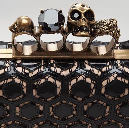 Alexander McQueen Long Honeycomb-Pattern Knuckle Box Clutch