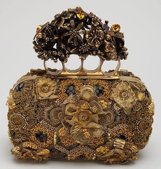 Alexander McQueen Raso Seta Knuckle Box Clutch Bag