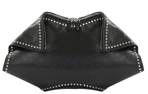 Alexander McQueen Black Leather Studded De Manta Tote Bag