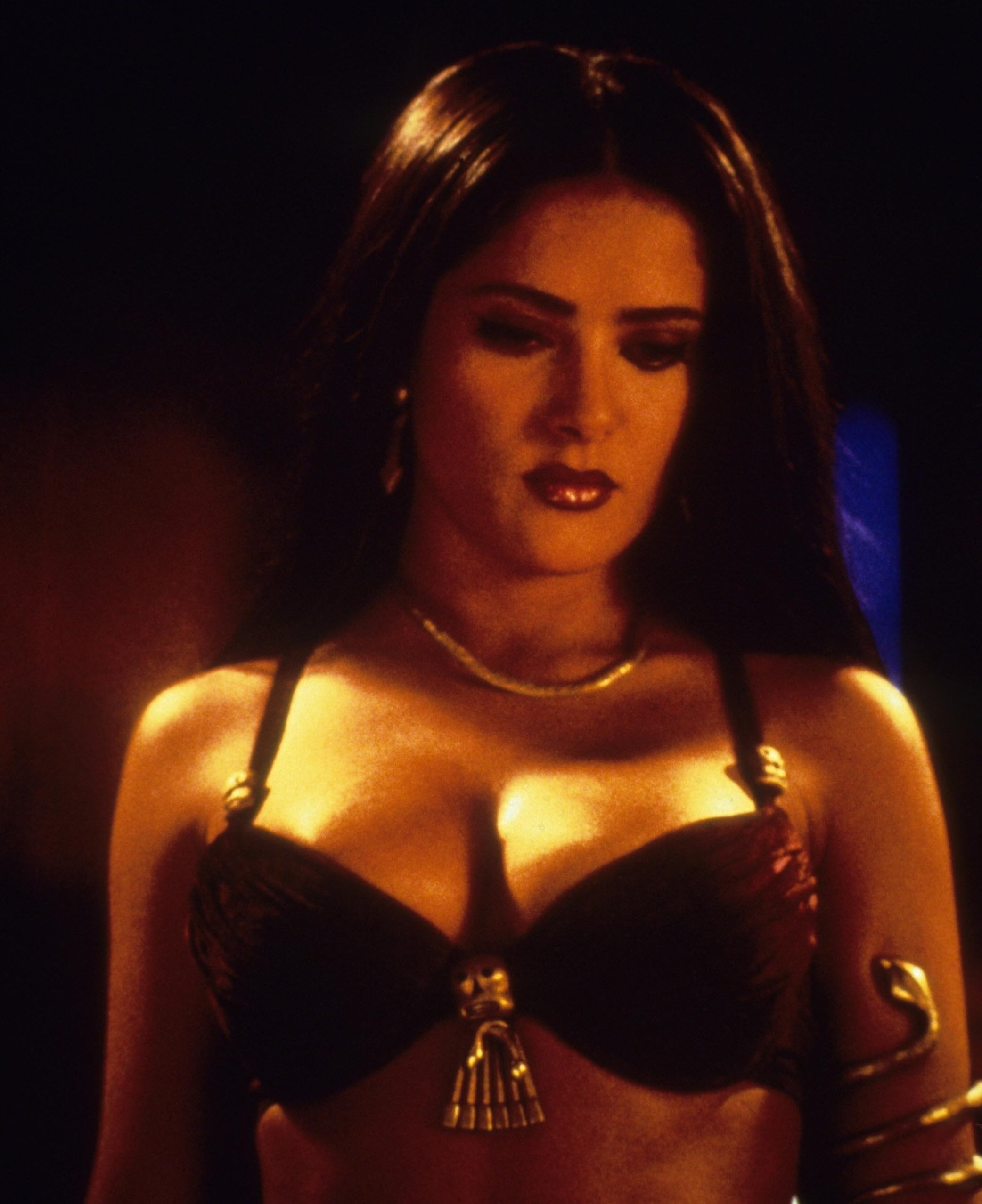 Salma Hayek flaunted her big boobs as a vampire queen in the 1996 American action horror film From Dusk till Dawn