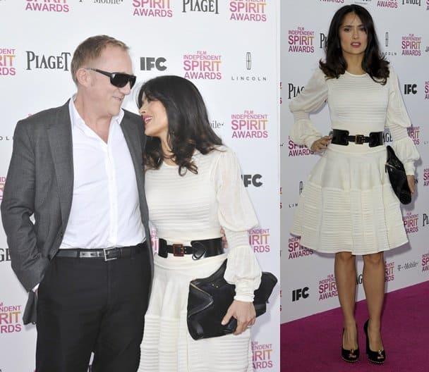 Salma Hayek and her husband Francois-Henri Pinault at the 2013 Film Independent Spirit Awards