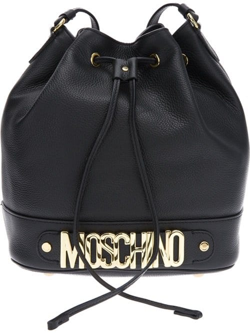 Moschino Drawstring Bucket Leather Bag in Black