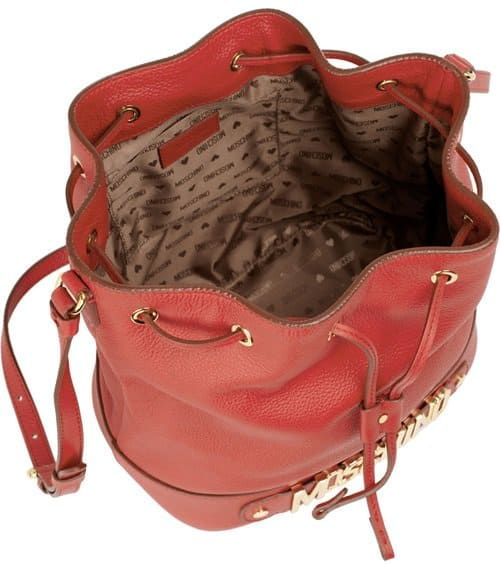 Moschino Drawstring Bucket Leather Bag in Red