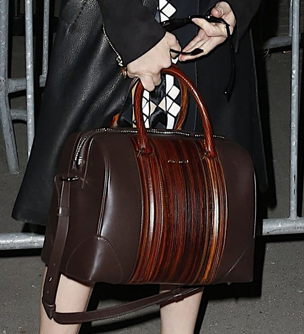 Amanda Seyfried's Givenchy Lucrezia two-tone wood-effect leather bag