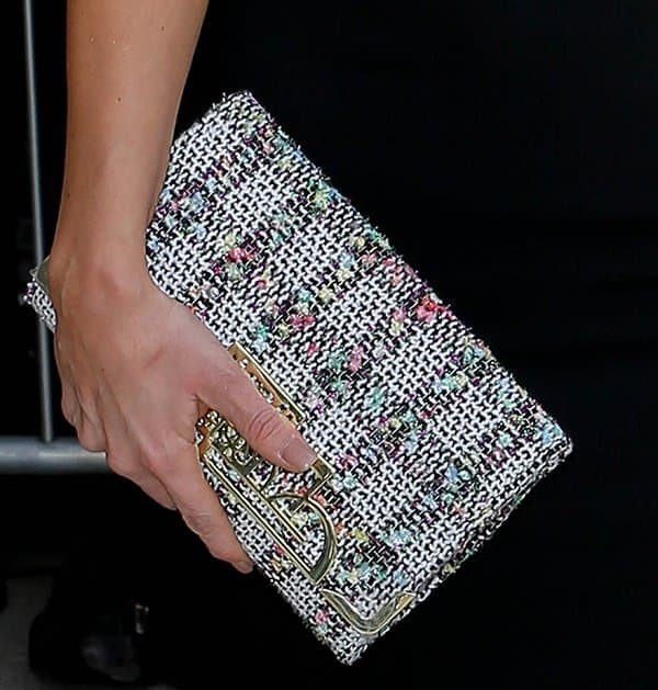 Catherine Tyldesley's tweed flannel clutch