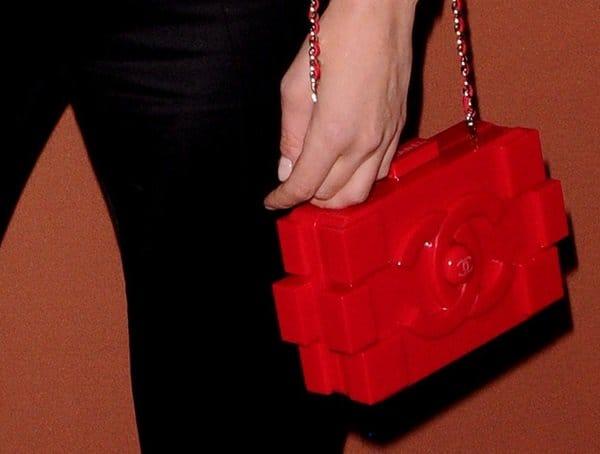 Diane Kruger'shot red Chanel Lego clutch bag