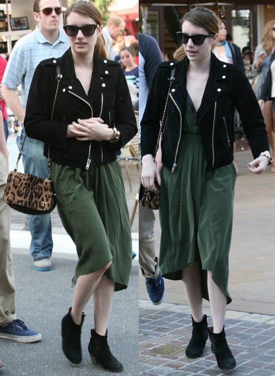 Emma Roberts wears an Alexa Chung For Madewell suede pixie jacket out for dinner in West Hollywood