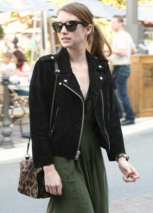 Emma Roberts totes a leopard-print Jerome Dreyfuss Bob bag