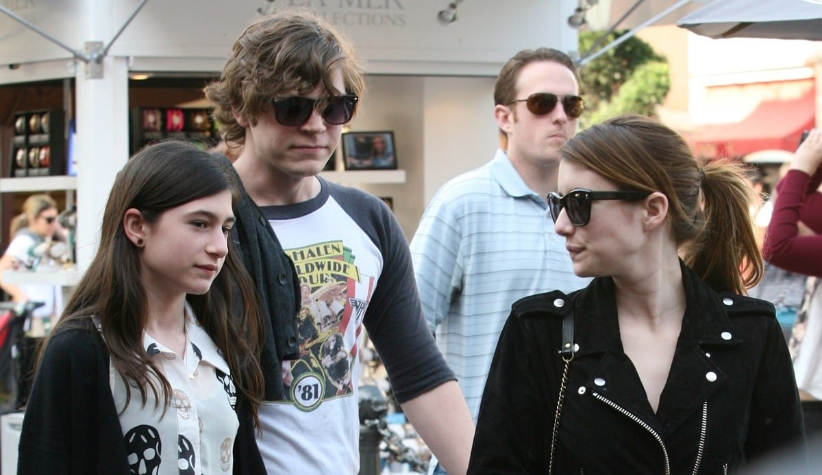 Evan Peters, Emma Roberts, and Grace Nickels arrive at The Fat Cow in West Hollywood for dinner