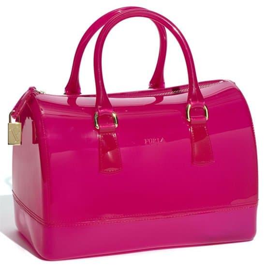 Furla 'Candy' Transparent Rubber Satchel - Dragon Fruit Pink