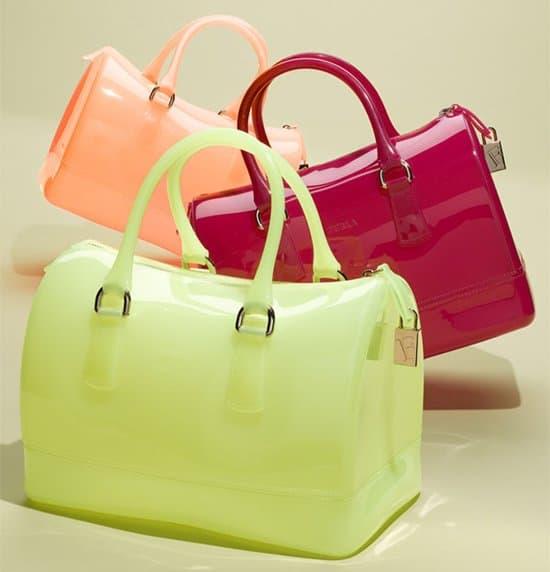 Furla's 'Candy' transparent rubber satchel handbags