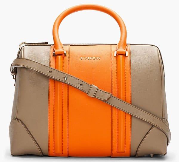 Givenchy Lucrezia Colorblock Brown-Orange Satchel Bag