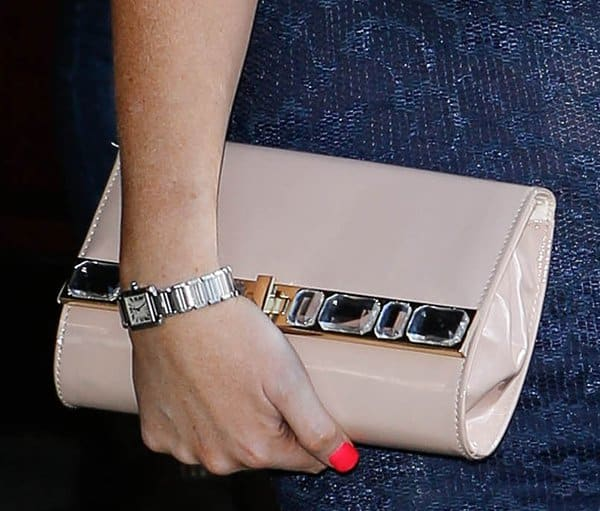 Jessica Wright's nude crystal-embellished clutch