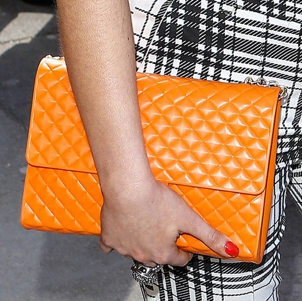 Rachel Shenton's orange quilted clutch