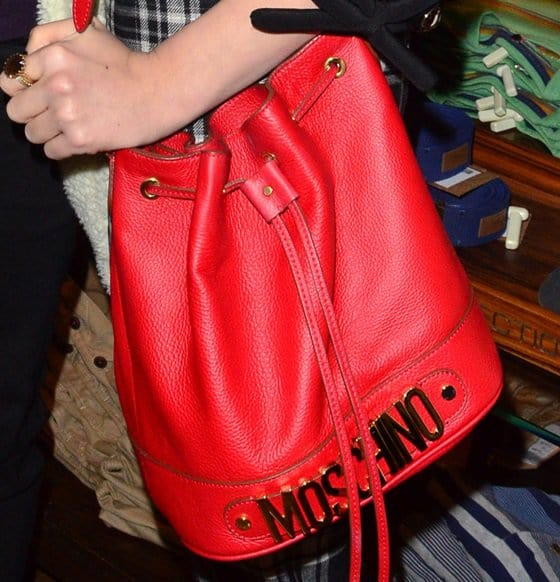 Pixie Lott's red Moschino drawstring bucket shoulder purse