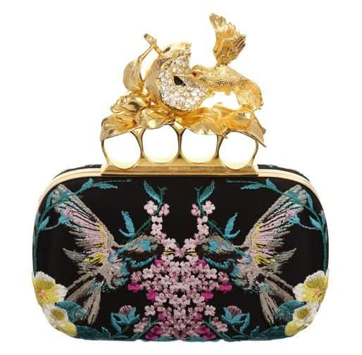 Alexander McQueen Embroidered Apple and Hummingbird Knucklebox Clutch