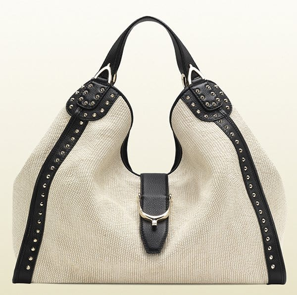 Gucci Soft Stirrup White Straw Shoulder Bag